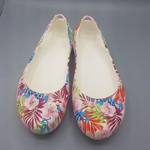 Crocs beautiful White/Pink floral flats